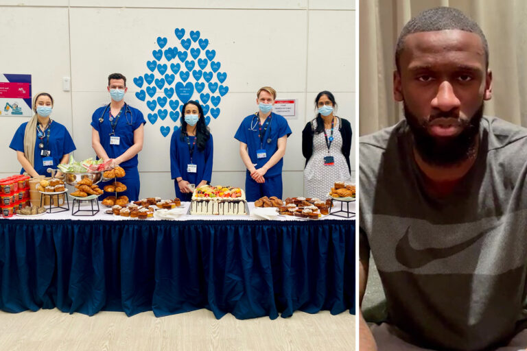 Antonio Rudiger treats staff at Chelsea's local hospital to a feast to thank them for leading fight…