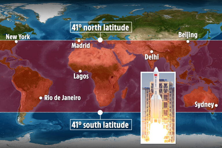 21-ton Chinese rocket tumbles out of control and could shower debris on New York or Madrid after…